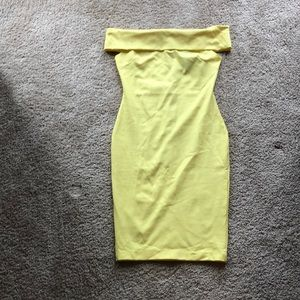 Off the shoulder yellow cocktail dress, brand new